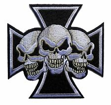 "3.5"" maltese cross devil triple skulls biker motor Embroidered iron on PATCH"
