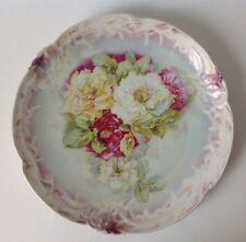 """Vintage Hand Painted Plate Platter Peonies Roses Scalloped Unsigned 12"""""""