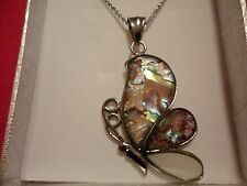"Abalone, White Shell Butterfly Pendant w/20"" Chain in Stainless Steel-15.40 CTW"