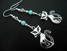 A PAIR OF TIBETAN SILVER  AND BLUE JADE BEAD CAT  EARRINGS. NEW.