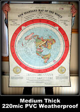 FLAT EARTH - GLEASON'S NEW STANDARD MAP OF WORLD 1892  - {220mic} PVC POSTER