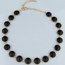 NWT Black Circle Gem Stone Gold Chain Necklace