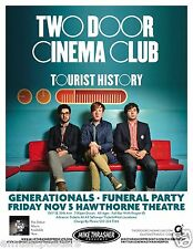 "TWO DOOR CINEMA CLUB 2010 ""TOURIST HISTORY TOUR""CONCERT POSTER-Group On Red Sofa"