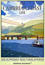 La línea de los ferrocarriles regionales de la costa Cambriano Tren Ferrocarril viajar cartel impresión