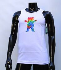 GRIZZLY GRIPTAPE DIGI TIEDYE LOGO MENS WHITE TANK TOP T SHIRT SMALL