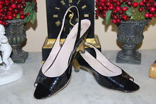 MIU MIU PRADA BLACK PATENT LEATHER LOW GOLD HEEL SLING BACK OPEN TOE SHOES 38.5