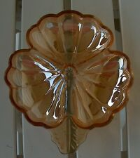 Jeannette Glass Doric Iridescent Marigold Carnival 3 Part Section Clover  Dish