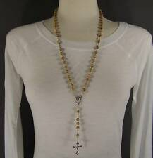"Light Brown wood wooden bead beaded rosary silver cross 26"" long necklace"
