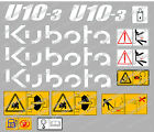 KUBOTA U10-3 MINI BAGGER KOMPLETTE AUFKLEBER SATZ MIT SICHERHEIT-WARNZEICHEN