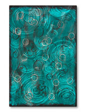 Metal Artwork Hand Sanded Abstract Contemporary Turquoise Blue 'Captivated'