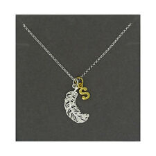 Lily Charmed NEW! Sterling Silver Large Feather & Gold Plated Initial S Necklace