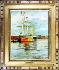 Aldro A.T. HIBBARD Original Painting Oil on Board Authentic Signed Harbor Art