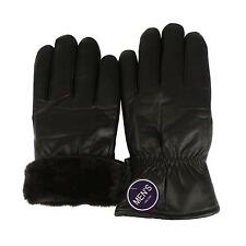 Winter Men's Faux Leather Super Thick Warm Faux Fur Lined Warm Gloves Black M/L