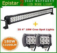 """32"""" 180W LED Light Bar Spot Flood Lamp 4WD Tractor+ 2X 4'' 18W Spot Cree Lights"""