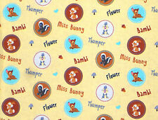 FAT QUARTER  DISNEY BAMBI & FRIENDS CHARACTER BADGES THUMPER DEER COTTON FABRIC