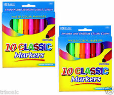 2 Pack of 10 Classic Colors Broad Line Jumbo Smooth Brilliant Watercolor Markers