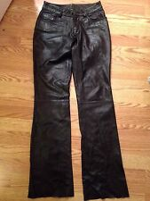 Wilson Genuine Leather Maxima Pants Size 0 Black Pockets Flare Jeans