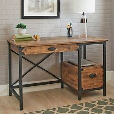 Rustic Country Desk Computer Home Workstation Weathered Pine Office Furniture