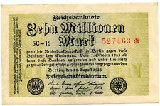 GERMANY 10 MILLION MARK INFLATION BANKNOTE 1923 CURRENCY MONEY WWII WW2 LOOK!