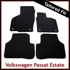 VW Passat B6 B7 2005-2015 Oval Clips Fully Tailored Carpet Car Floor Mats BLACK