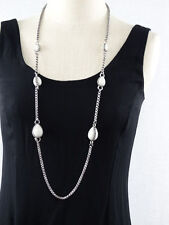 "Chico's 20"" necklace ;6 Ivory Color Marble Stones on Silver toned Chain"
