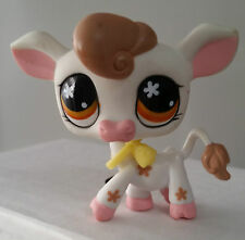 LITTLEST PET SHOP - # 476 - COW / COW BELL NECKLACE / BROWN EYES W/ STARS