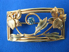 """SALE!  12K GF DECO ORCHID BROOCH PIN: Blue Topaz Colored Stone, 1 x 2 """", Marked"""