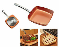 "NonStick Square Fry Pan 9"" Ceramic Frying Skillet Induction Cookware Copper Chef"