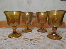 Beautiful Vintage Marigold Grape Pattern Indiana Carnival Glass Goblets