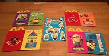 2015~McDonald's Happy Meal Boxes And Very Rare Minion Sticker Sheet NIP