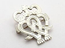 Sterling Silver Brooch by  Ola Gorie  LUCKENBOOTH  double heart with crown