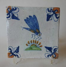 "A RARE 17th century DUTCH DELFT TILE POLYCHROME ""DRAGONFLY"" (c.1625/50)"