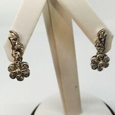 10K White Gold Diamond Flower Floral Pierced Earrings, Drop Dangle