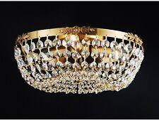 Flush Mount Antique Copper Crystal 3 Light Chandelier Accent Ceiling Light Lamp