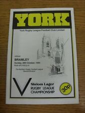 28/10/1984 Rugby League Programme: York v Bramley  . Condition: We aspire to ins