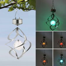 1pc Solar Power Garden Light Courtyard Hanging Spiral Lamp LED Wind Spinner