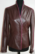 £2,000 NEW CERRUTI Jacket/Blazer Genuine Leather Brown/Pink Small/IT42/UK10/D36