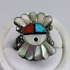 Zuni Sterling Silver Turquoise Coral Mother Pearl Inlay Sun Face Sunface Ring