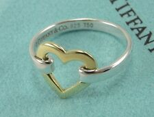 Size 7 Tiffany & Co Sterling Silver & Gold Heart Buckle Ring Band Jewelry Rare