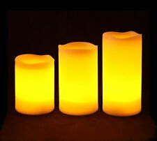 Flameless Battery Operated LED Candles with Remote Control 3pcs Box Set - Yellow