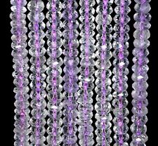 6X4MM AMETHYST GEMSTONE PURPLE GRADE A FACETED RONDELLE LOOSE BEADS 15.5""
