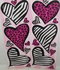 ANIMAL PRINT HEARTS wall stickers 20 decals leopard zebra wall decor dorm silver