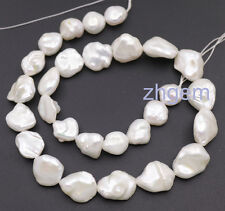 "10*11mm-13*16mm natural white baroque keshi pearl loose beads 15"" strand"