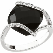Genuine Black Onyx 12 mm Cushion Cut Gem &  1/5 ctw Diamonds Ring 14K White Gold