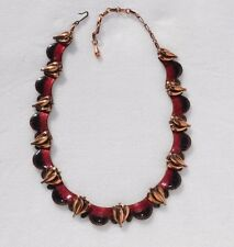 "MATISSE Red Black Enamel on Copper ""QUEEN ANN"" Necklace Jerry Fels Design RARE"