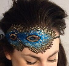 Peacock Feather Headband Vintage 1920s Headpiece Great Gatsby Flapper