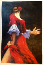 Large Hand Painted Oil Painting on Canvas of Spanish Flamenco Dancer