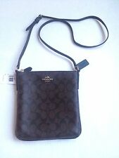 COACH SIGNATURE NORTH SOUTH CROSSBODY BAG PURSE BROWN BLACK C LOGO Item # F35940
