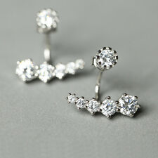 925 Sterling Silver Line Shining Elegant Ear Jacket Stud Earrings 981