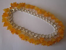 Orange Lucite Flower Charm Bracelet - Silver Plated - Orange Blossom